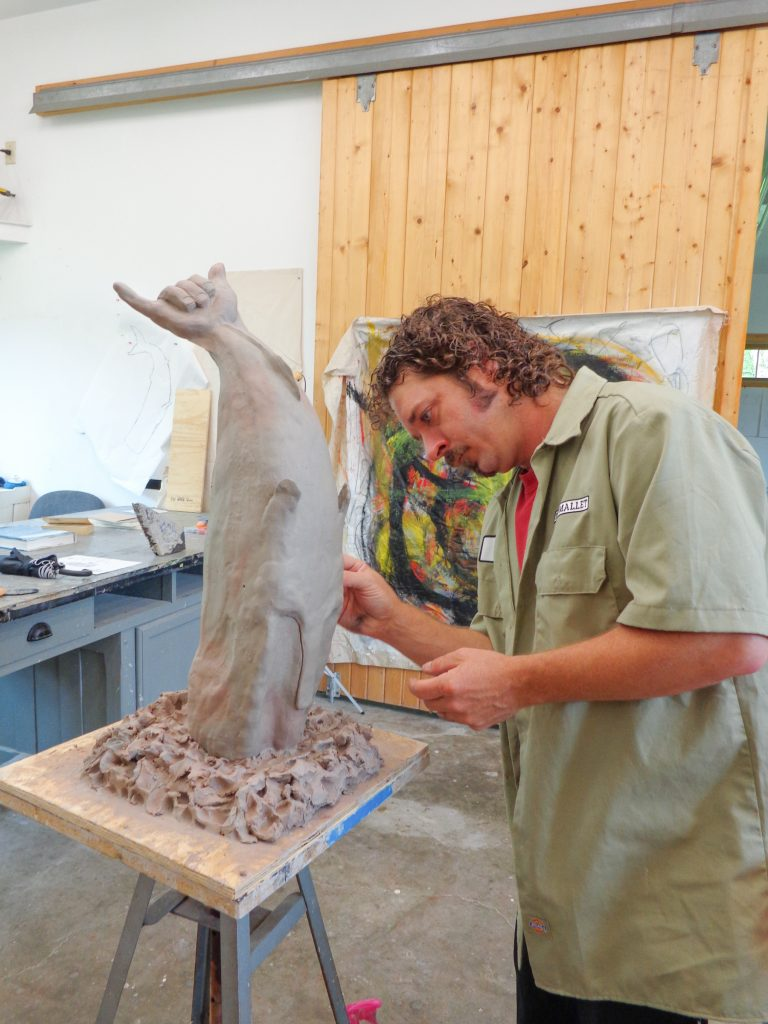 Sculptor Jeremy Quiroga in the Anderson Center's Residency Studio