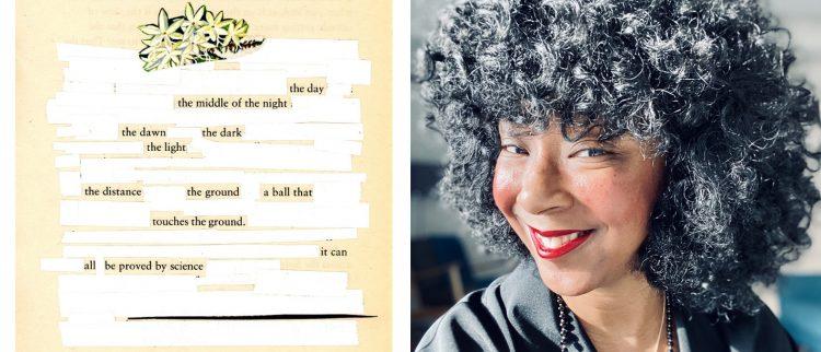 Erasure Poetry example and headshot of S. Erin Batiste